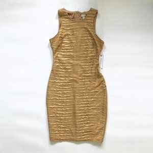 NWT Gold Ruched High Quality Designer Dress